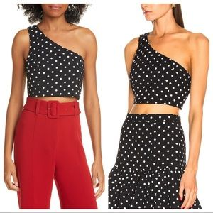 NWT Cinq a Sept Dotted Mayaan One Shoulder Crop M
